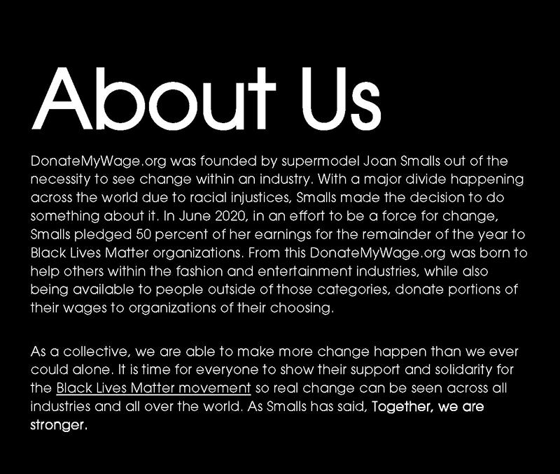 Joan Smalls x #DONATEMYWAGE | IMG Models